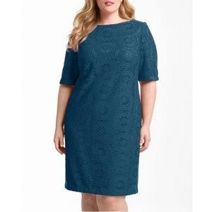 EUC Adrianna Papell Navy Blue Sheath Dress 4